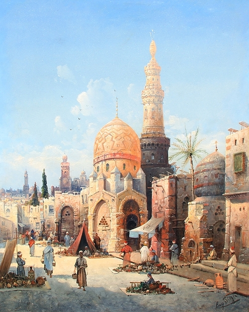 AUGUST VON SIEGEN  A Street Market in Cairo   Oil on panel 20¾ x 16½ inches (52.5 x 42 cm) $6,000 Click here for more information