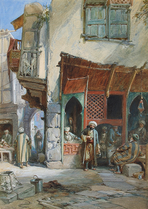 WILLIAM SIMPSON    Barber's Shop - Suez   Watercolor on paper 13½ x 9¾ inches (34 x 25 cm) $6,000 Click here for more information