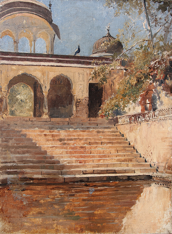 Steps in Sunlight (India)   Oil on canvas 17 x 13 inches (43.2 x 33 cm) $16,000 Click here for more information