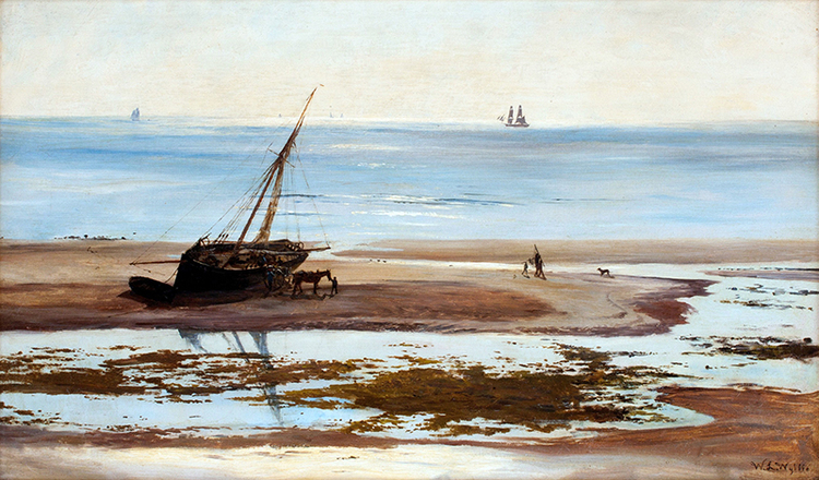 WILLIAM LIONEL WYLLIE    On the Sandbanks   Oil on canvas 14 x 24 inches (35.5 x 61 cm) $15,000 Click here for more information