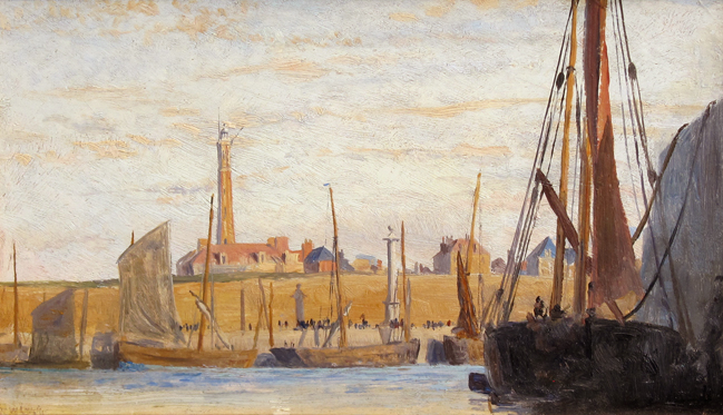 WILLIAM LIONEL WYLLIE    Calais Harbor   Oil on panel 5 x 8¼ inches (12.6 x 21 cm) $4,500 Click here for more information