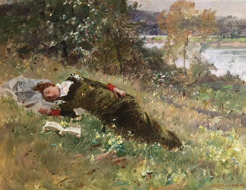 ADRIEN MOREAU    Afternoon Siesta   Oil on panel 7¼ x 9½ inches (18.4 x 24.1 cm)  SOLD