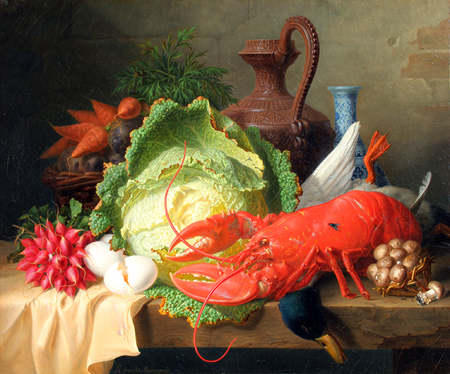 ANGE LOUIS GUILLAUME LESOURD DE BEAUREGARD    Still Life with Lobster   Oil on canvas 21 x 24 inches (53 x 61 cm)  SOLD