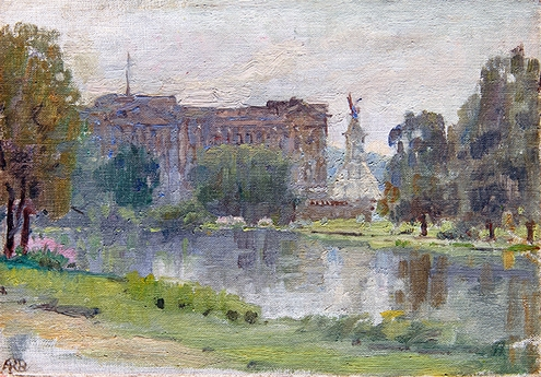 ANNA RICHARDS BREWSTER    Buckingham Palace   Oil on canvas 5½ x 8 inches (14 x 20.4 cm) $4,800 Click here for more information