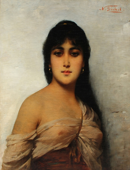 NATHANIEL SICHEL  An Oriental Beauty   Oil on canvas 25¾x 19½inches (65.5 x 49.5 cm) $7,500 Click here for more information