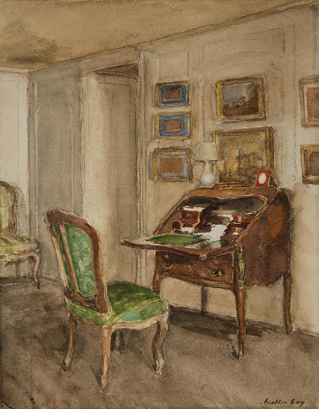 WALTER GAY    The Boudoir, Château du Bréau   Watercolor on paper 14 x 11 inches (35.6 x 28 cm)  SOLD