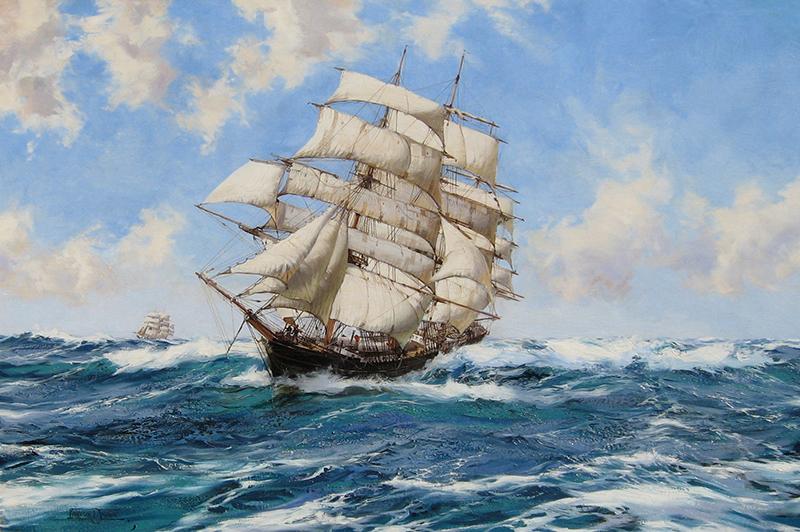 MONTAGUE DAWSON    The New York Clipper Ship 'Prima Donna'   Oil on canvas 28 x 42 inches (71 x 106.7 cm)  SOLD