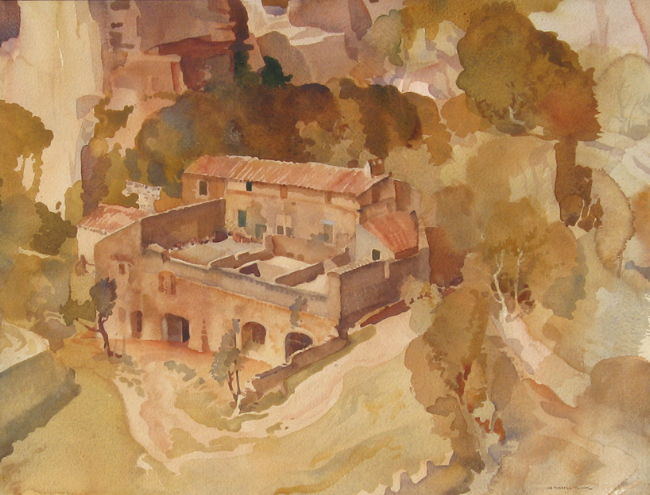 Sir William Russell Flint | A Farm at Les Baux, Provence