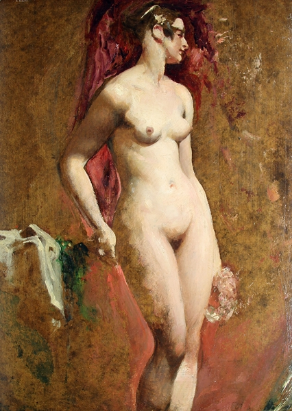 WILLIAM ETTY    Standing Female Nude   Oil on millboard 22¾ x 17¼ inches (57.8 x 43.7 cm) $17,000 Click here for more information