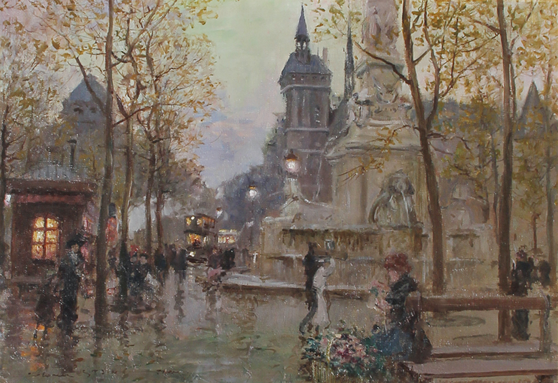 GEORGES STEIN  Rainy Day, Paris   Oil on canvas 15 x 21 inches (38.1 x 53.3 cm)  SOLD