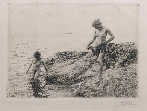 ANDERS ZORN    Seaward Skerries   Etching on cream paper 7 x 9¾ inches (17.5 x 24.5 cm)  SOLD