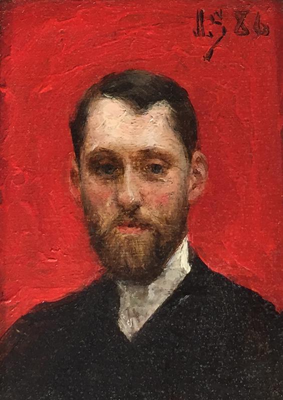 JULIUS LEBLANC STEWART  Self Portrait   Oil on panel 3 x 2 inches (7.6 x 5 cm)  SOLD