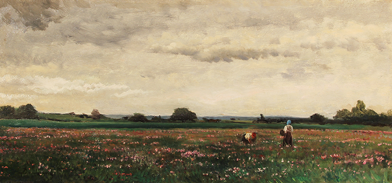 CHARLES FRANÇOIS DAUBIGNY    Paysannes dans un Champ Fleuri   Oil on panel 9¼x 19¾ inches (23.5 x 50.5 cm)  SOLD