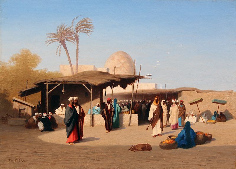 CHARLES THÉODORE FRÈRE    The Market Place   Oil on panel 9¼ x 13 inches (23.5 x 33 cm)  SOLD