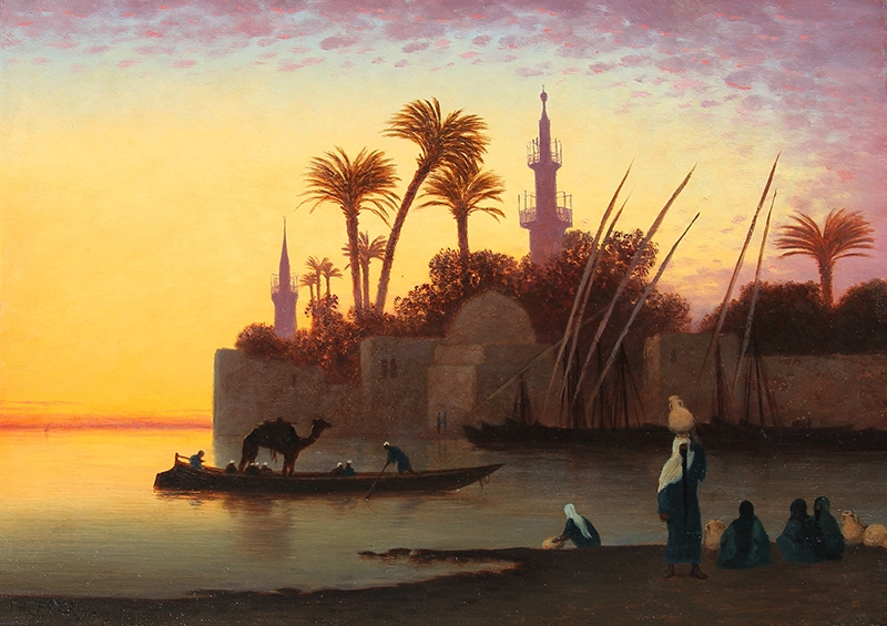 CHARLES THÉODORE FRÈRE  Along the Nile at Sunset   Oil on panel 9¼ x 13 inches (23.5 x 33 cm)  SOLD