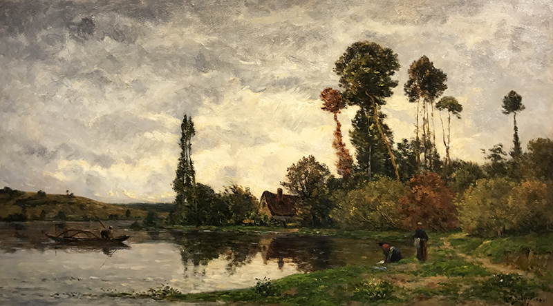 HIPPOLYTE CAMILLE DELPY    Along the River at Tournedos-sur-Seine, Normandy   Oil on cradled panel 15½ x 28 inches (39.4 x 71 cm)  SOLD