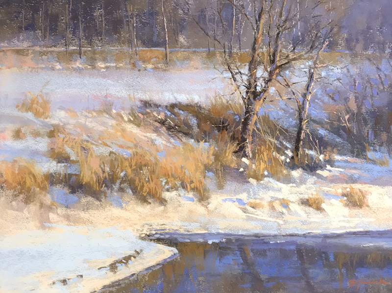 BARBARA JAENICKE    Winter Evening   Pastel on paper 12 x 16 inches (30.5 x 40.6 cm) $3,200 Click here for more information