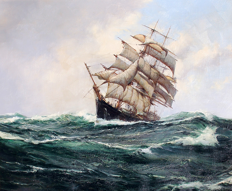 Montague Dawson | The Carrie Reed under Full Sail