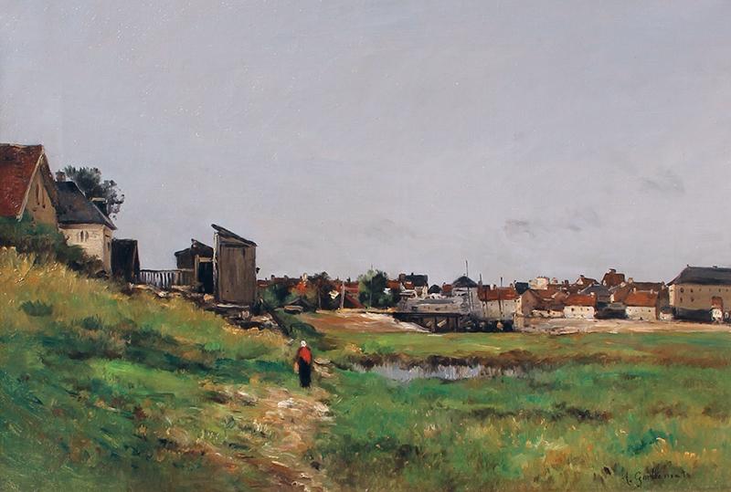 ANTOINE GUILLEMET  Le Basin de Port à Marée Basse   Oil on canvas 15 x 22 inches (38.1 x 56 cm) $25,000 Click here for more information