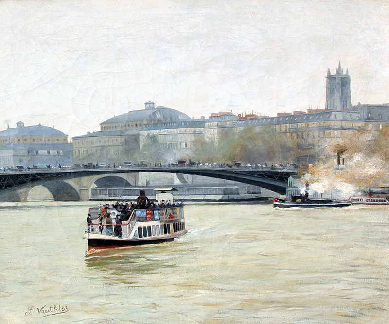 PIERRE LOUIS LÉGER VAUTHIER  Bateau Mouche sur la Seine, Paris   Oil on canvas 21½ x 25½ inches (54.6 x 64.8 cm) $9,500 Click here for more information