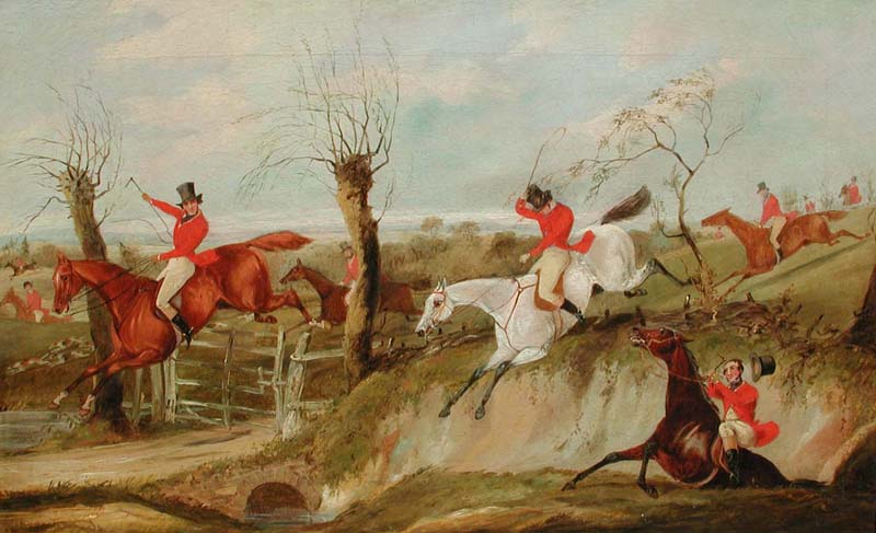 HENRY THOMAS ALKEN           A Set of Three Hunting Scenes (2 of 3)   Oil on Canvas Each 17 x 27 inches (43.2 x 68.5 cm.)   SOLD