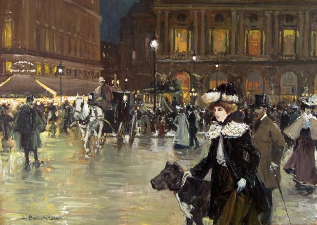 Devant l'Opéra, Paris   Oil on canvas 13 x 18 inches (33 x 45.7cm)  SOLD