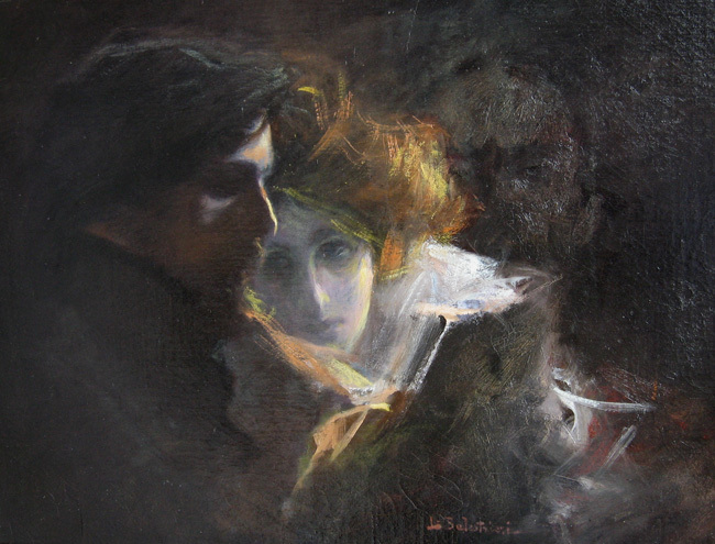 """Study for """"Beethoven's Kreutzer Sonata"""" 1900   Oil on canvas 22 x 29 inches  SOLD"""