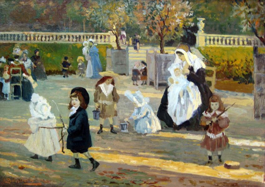 Enfants jouant au Parc   Oil on canvas 13 x 17¾ inches (33 x 45 cm.)  SOLD