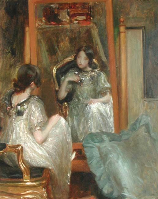 JACQUES EMILE BLANCHE    Devant le Miroir   Oil on canvas 32 x 26 inches (81.5 X 66 cm.)  SOLD