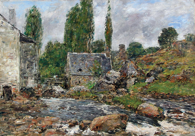 EUGÈNE BOUDIN    Pont-Aven - La Rivière après la Pluie   Oil on canvas 18½ x 25¾ inches (47 X 65.5cm) $75,000 Click here to learn more