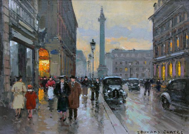EDOUARD CORTÈS    Rue de la Paix, Place Vendome - Paris   Oil on canvas 13 x 18 inches (33 X 46cm)  SOLD
