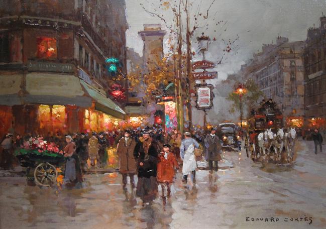 EDOUARD CORTÈS    Boulevard Bonne Nouvelle, Paris   Oil on canvas 13 x 18 inches (33 X 46cm)  SOLD