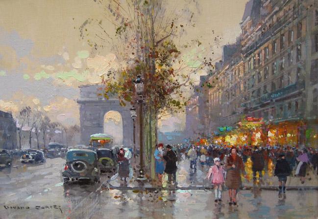EDOUARD CORTÈS    Champs Elysées, Lido - Paris   Oil on canvas 13 x 18 inches (33 X 46cm)  SOLD