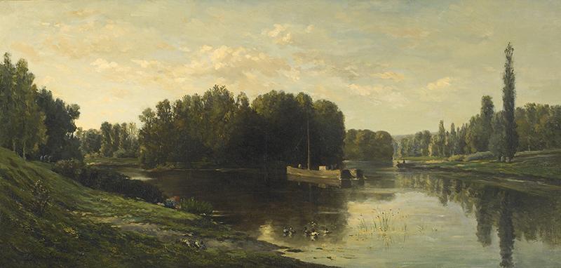 CHARLES FRANÇOIS DAUBIGNY    Les Bords de l'Oise, Ile de Vaux   Oil on canvas 21 x 43¾ inches (53.3 x 111 cm)  SOLD