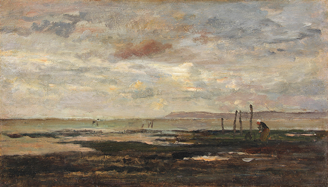 CHARLES FRANÇOIS DAUBIGNY    Marée Basse (Villerville)   Oil on cradled Panel 10 x 17¼ inches (25.5 x 44 cm)  SOLD