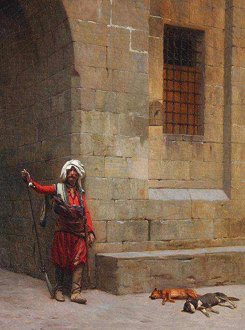 JEAN-LÉON GÉRÔME    Arnaute et Chiens   Oil on canvas 13 x 10 inches (33 x 25 cm)  SOLD