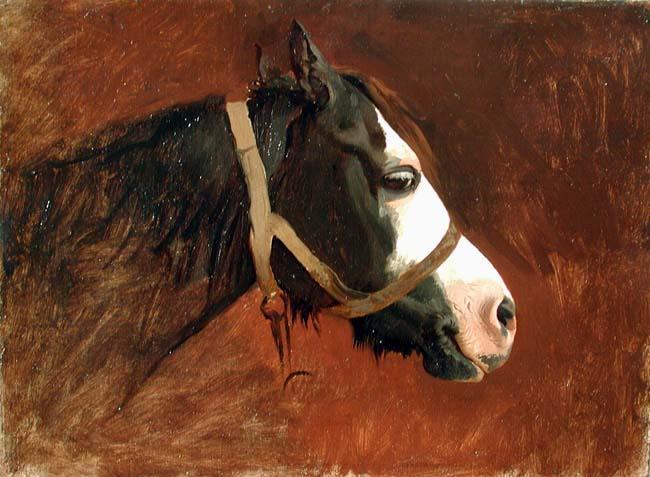 JEAN-LÉON GÉRÔME    Tête de Cheval en Profil   Oil on canvas 9 x 12¼ inches (22.8 x 31 cm)  SOLD
