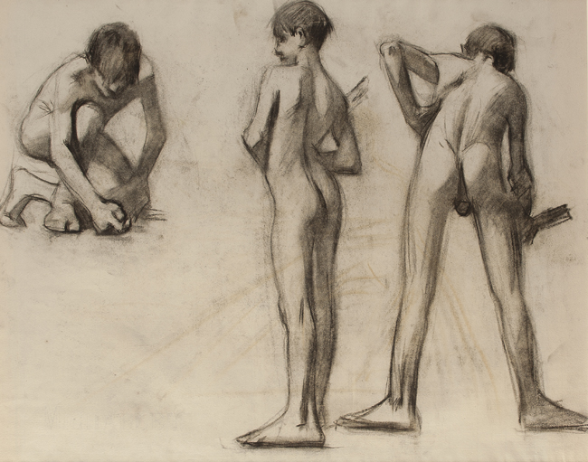 EDWARD HOPPER    Study of Three Boys (verso)   Charcoal on paper 17¾ x 25 inches  SOLD