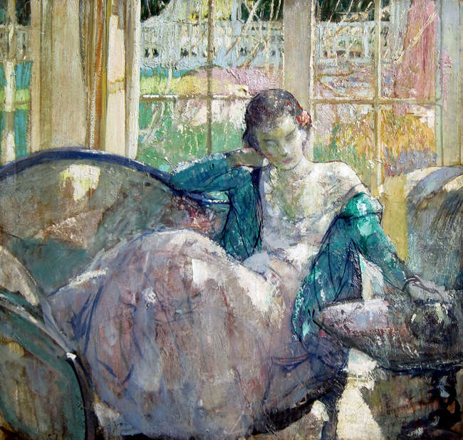RICHARD E. MILLER    In the Sunlight   Oil on board 36 x 38 inches (91.4 x 96.5 cm)  SOLD