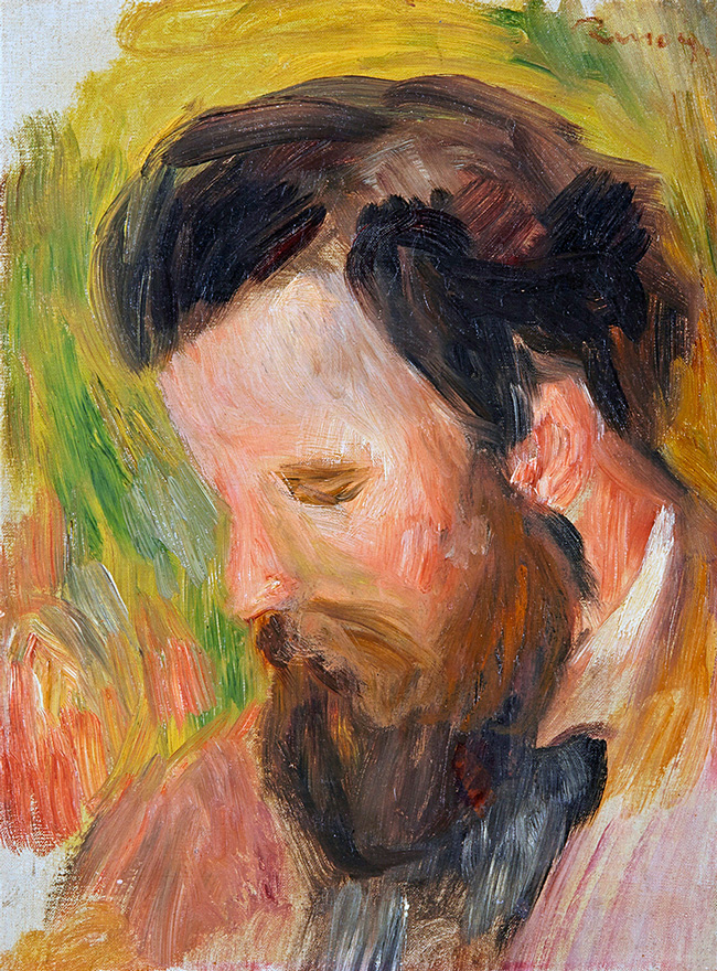 PIERRE-AUGUSTE RENOIR    Portrait of the Composer Claude Terrasse   Oil on canvas 11¾ x 8¾ inches (30 x 22.2 cm)  SOLD