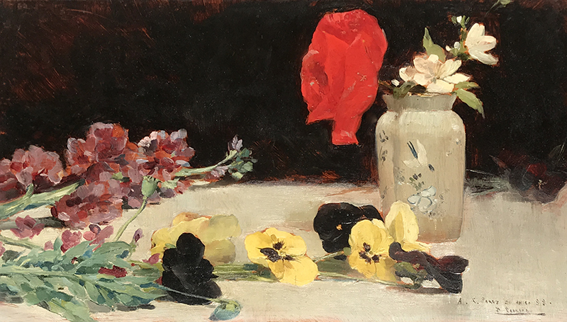 FERNANDO CABRERA Y CANTO    Still Life with Flowers on a Table   Oil on panel 9 x 15¾ inches (23 x 40 cm) $9,500 Click here for more information