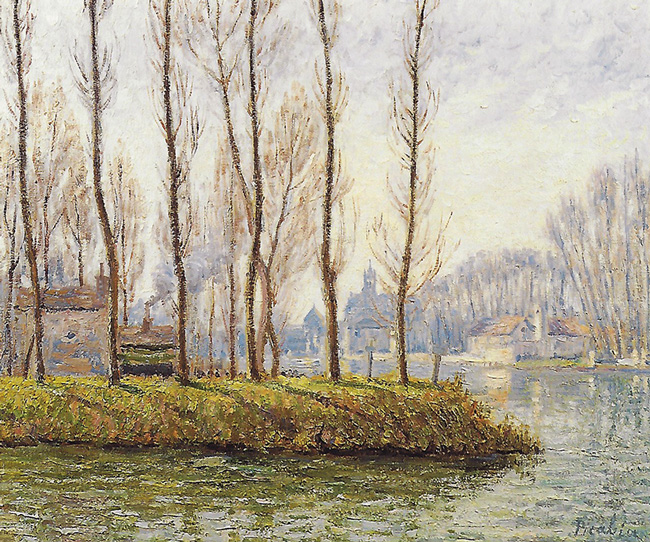 FRANCIS PICABIA  Moret-sur-Loing in Winter   Oil on canvas 21½ x 25½ inches (55 x 65 cm.)  SOLD