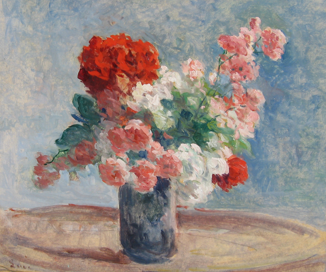MAXIMILIEN LUCE  Vase de Fleurs   Oil on paper laid down on canvas 18¼ x 21¾ inches (46.4 x 55.3 cm.)  SOLD