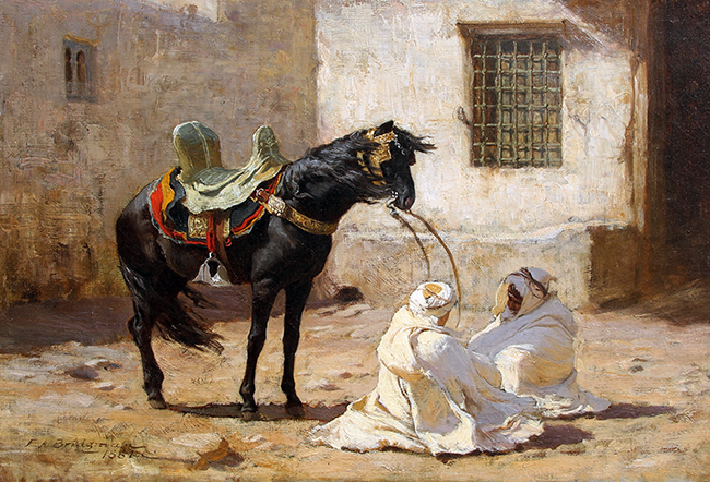 FREDERICK ARTHUR BRIDGMAN    Waiting for Orders - Algeria   Oil on canvas 12 x 18 inches (30.5 x 45.8 cm)  SOLD