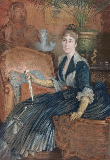 JAMES JACQUES JOSEPH TISSOT  Portrait of Marie-Héloise Jeanne Ferré May   Pastel on linen 58 x 40 inches (147.3 x 101.6cm)  SOLD