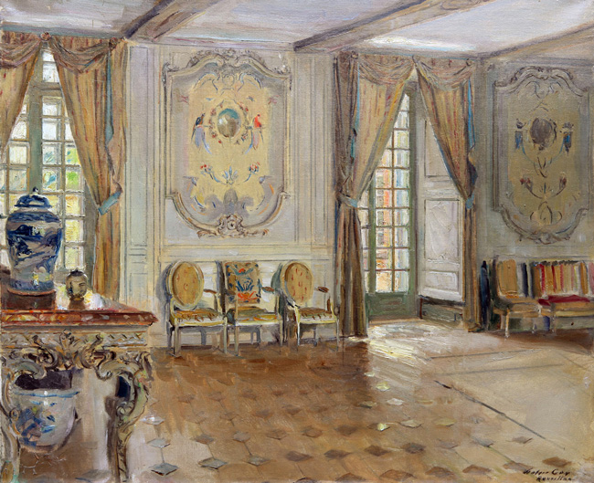 WALTER GAY  A Salon at the Château de Réveillon   Oil on canvas 18 x 21¾ inches (46 x 55 cm)  SOLD