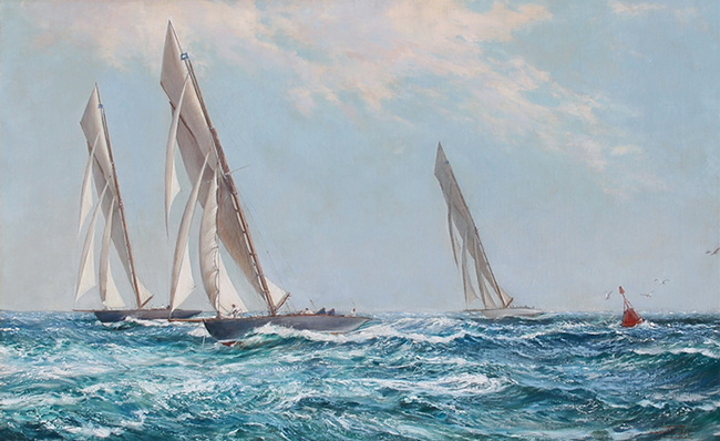 MONTAGUE DAWSON  Yachts Racing up the Clyde, Scotland   Oil on canvas 25 x 40 inches (78.7 x 116.8 cm)  SOLD