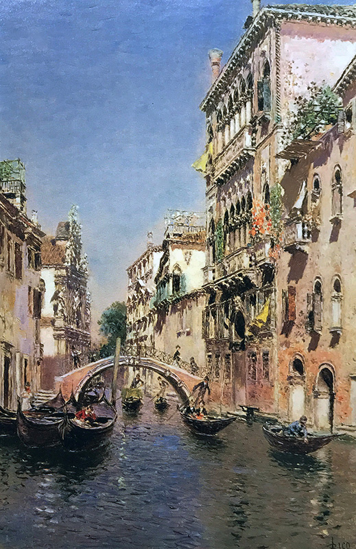 MARTÍN RICO Y ORTEGA    Gondoliers on a Venetian Canal   Oil on panel 14¼ x 9¼ inches (36.1 x 23.5 cm)  SOLD