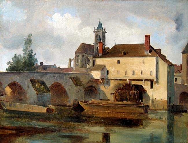 JEAN-BAPTISTE CAMILLE COROT    Moret sur Loing, le pont et l'église   (1822) Oil on paper laid down on canvas 11¾ x 15¼ inches (30 x 39 cm)  SOLD
