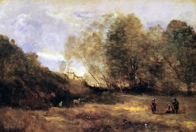 JEAN-BAPTISTE CAMILLE COROT    Chevrières en Vue d'un Village   Oil on canvas 14½x 21 inches (36.8 x 53.3 cm)  SOLD